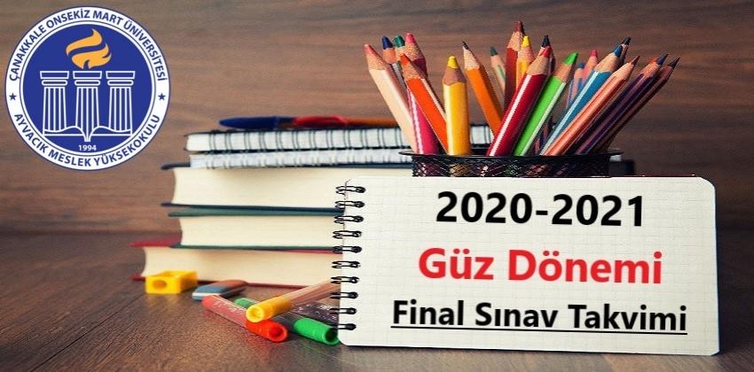 2020-2021 Güz Dönemi Final Sınav Takvimi - Güncellenmiştir 06.01.2021 !!!
