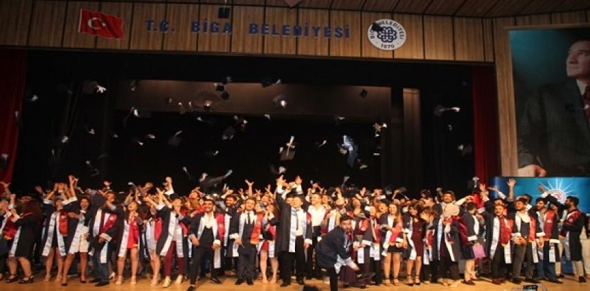 Biga Meslek Yüksekokulu 26. Dönem Mezunlarını Coşku Dolu Bir Törenle Uğurladı