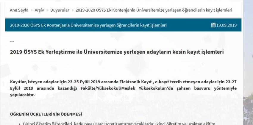 2019 ÖSYS Ek Yerleştirme ile Üniversitemize yerleşen adayların kesin kayıt işlemleri