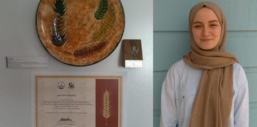 Mimari Dekoratif Sanatlar Bölümü 2.sinıf öğrencimiz Emel Koçali, eseri sergileme ödülü almıştır.