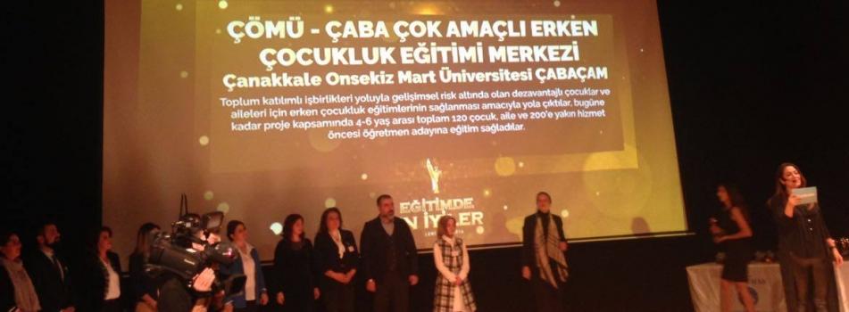 Çanakkale Onsekiz Mart Üniversitesi ÇABAÇAM, Eğitimde En İyiler Programı Ödül Töreni'nde ödüle layık görüldü.