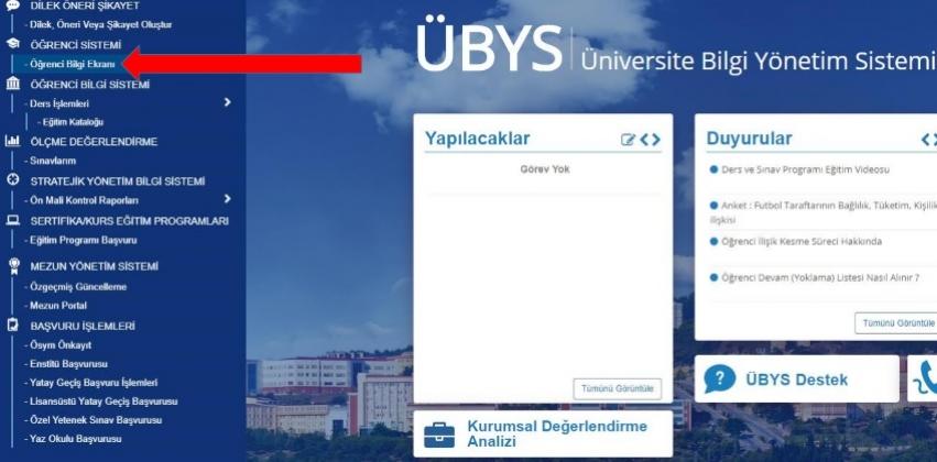 Online Belge Talepleri (öğrenci belgesi, transkript)