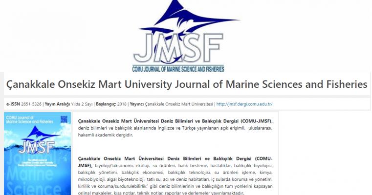 Fakülte Dergisi Çanakkale Onsekiz Mart University Journal of Marine Sciences and Fisheries Yeni Sayısı Yayınlandı