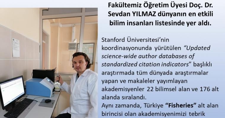 Fakültemiz Öğretim Üyesi Doç. Dr. Sevdan YILMAZ Dünyanın En Etkili Bilim İnsanları Listesinde Yer Aldı