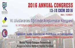 VI. Uluslararası  Eğitimde Araştırmalar Kongresi