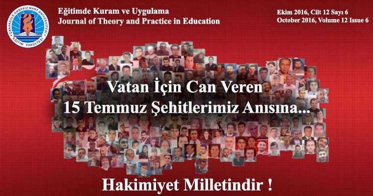 Eğitimde Kuram ve Uygulama (EKU) Dergisinin Ekim Sayısı 15 Temmuz Şehitleri Anısına Yayınlandı
