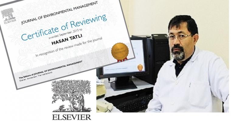 Doç. Dr. Hasan TATLI, ELSEVIER Tarafından Yılın En İyi Hakemlik (Recognized Reviewer) ödülüne layık görüldü
