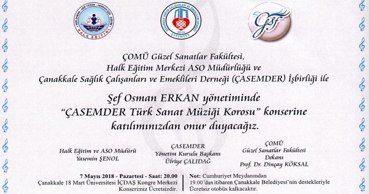 Şef Osman Erkan Yönetiminde ÇASEMDER Türk Müziği Korosu Konserine Davetlisiniz
