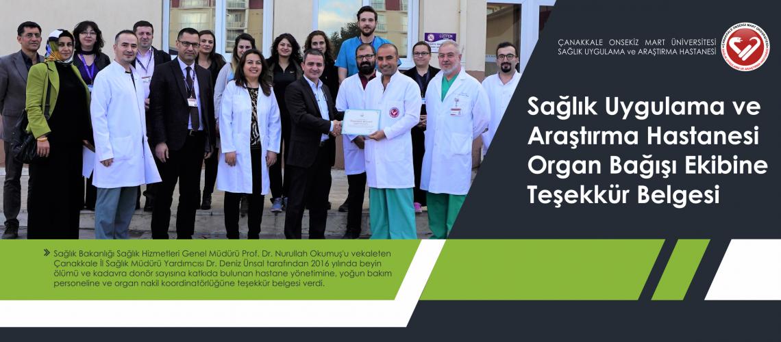 Sağlık Uygulama ve Araştırma Hastanesi Organ Bağışı Ekibine Teşekkür Belgesi