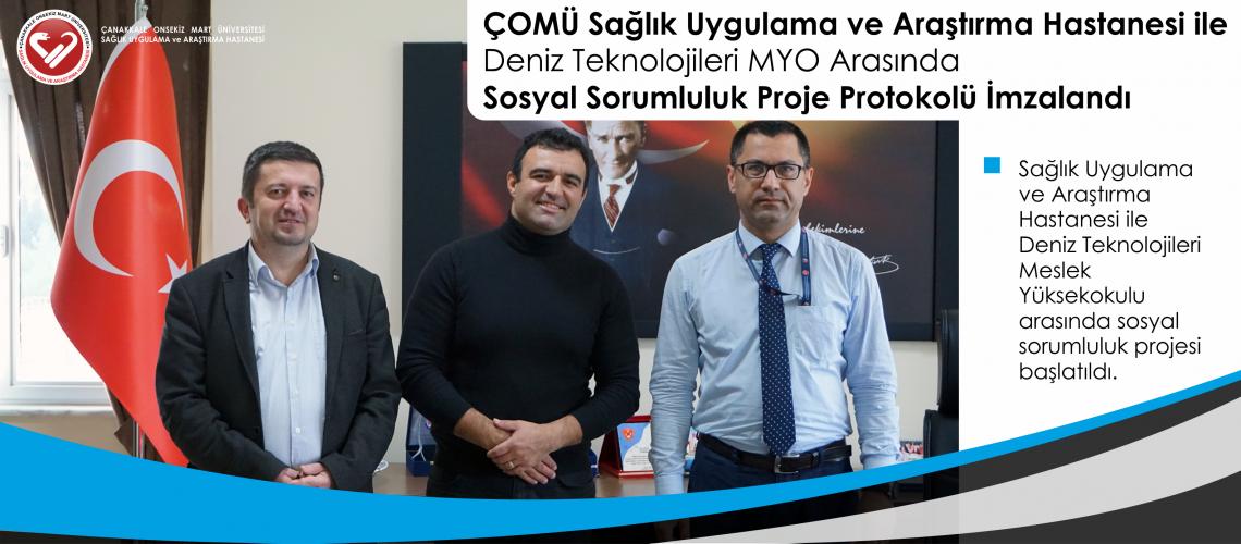 ÇOMÜ Sağlık Uygulama ve Araştırma Hastanesi ile Deniz Teknolojileri MYO Arasında Sosyal Sorumluluk Proje Protokolü İmzalandı