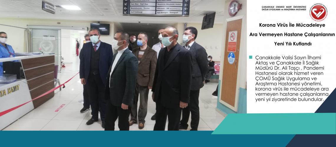 Korona Virüs İle Mücadeleye Ara Vermeyen Hastane Çalışanlarının Yeni Yılı Kutlandı