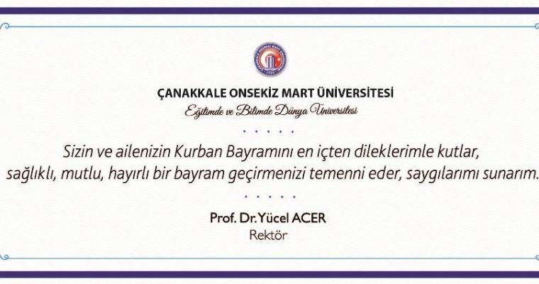 Rektörümüz Sn. Prof. Dr. Yücel ACER'in Bayram Tebriği