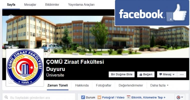 Ziraat Fakültesi Facebook sayfasından sınav, ders programı değişikliklerini, duyuru ilan ve haberleri takip edebilirsiniz.