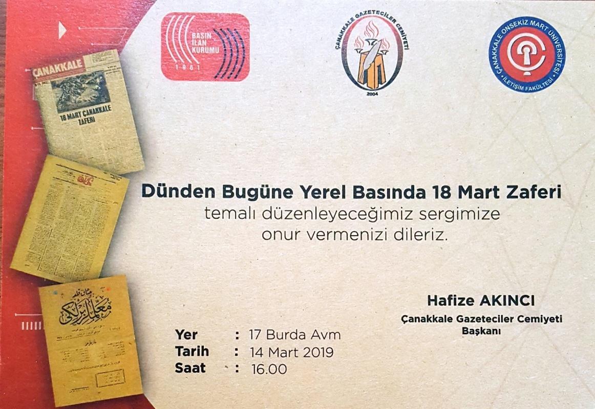 """Dünden  Bugüne  Yerel  Basında  18  Mart  Zaferi"""" Temalı  Sergi"""