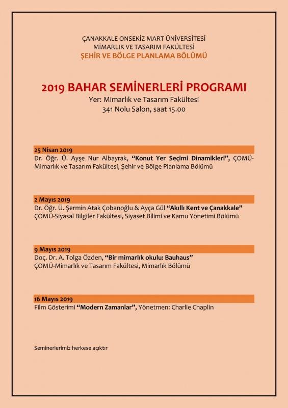 Mimarlık ve Tasarım Fakültesi 2019 Bahar Seminerleri