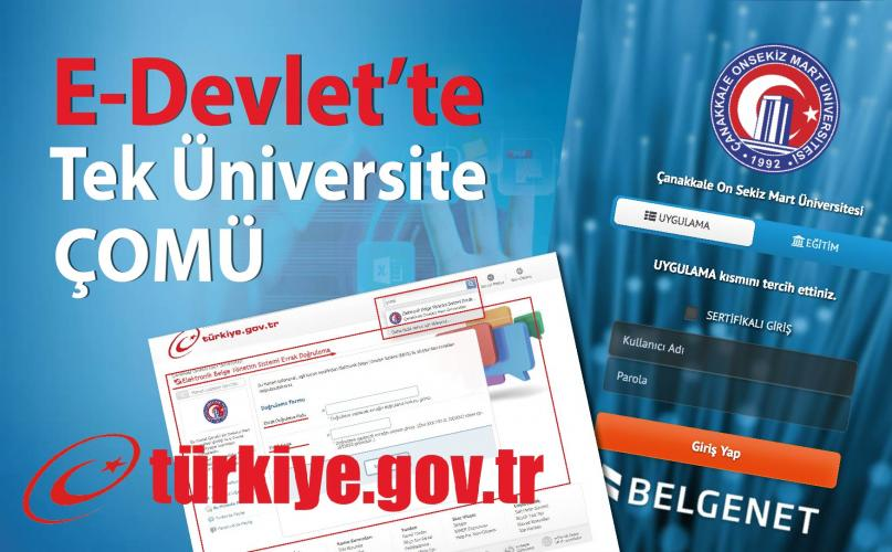 ÇOMÜ, E-Devlet'te Tek Üniversite