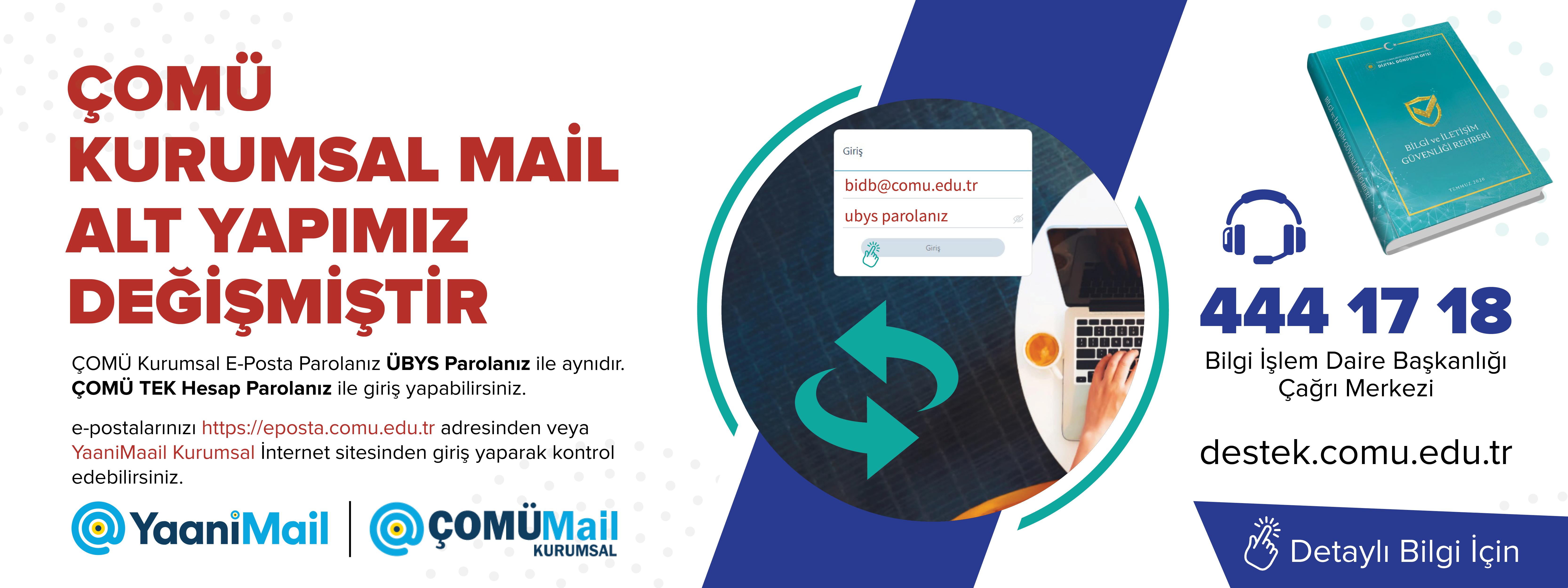 ÇOMÜ Kurumsal Mail Alt Yapımız Değişmiştir